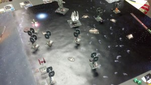 Scattered Imperial ships turning to face the capital ship out of frame